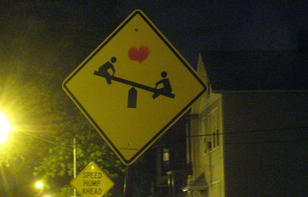 Children Playing Sign - Seesaw Heart